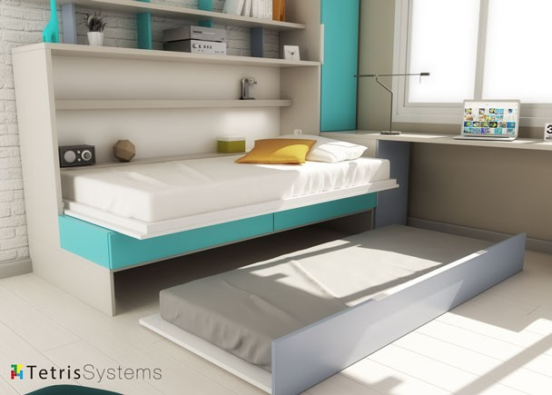 Cama abatible con sofá, nido, escritorio y armario (abierto)