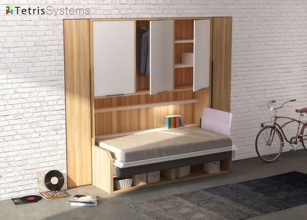 sof cama abatible 190 x 90 versatile con armario elmenut