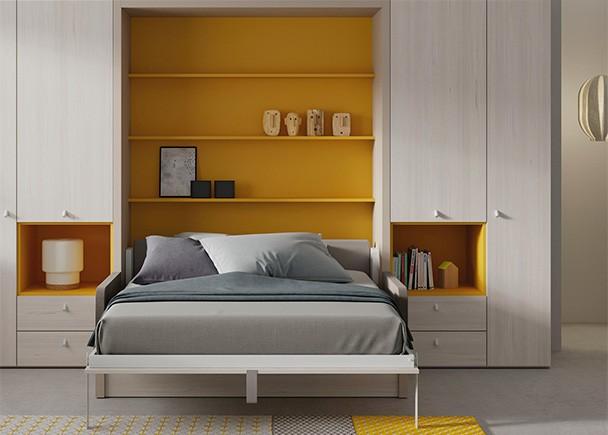Cama abatible vertical con sof y armarios laterales elmenut for Sofa cama armario