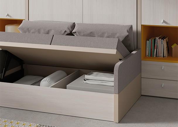 Cama abatible vertical con sofá y armarios laterales.. Elmenut