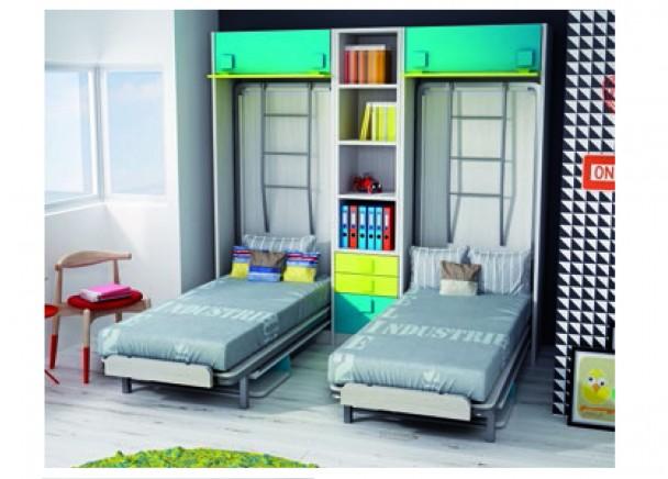 Dormitorio infantil con dos literas abatibles elmenut - Dormitorios infantiles malaga ...