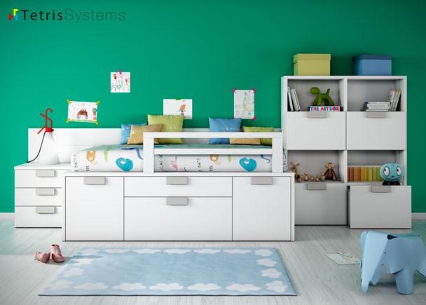 Dormitorio infantil cama compacta con cajones elmenut for Cama infantil compacta