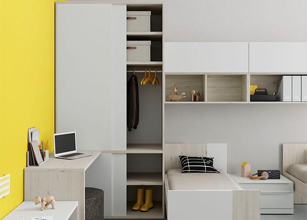 Dormitorio infantil con dos camas extensibles y armario - Dormitorios con dos camas ...