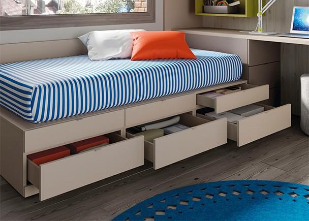 Dormitorio juvenil con cama escritorio armarios y for Cama puente con escritorio