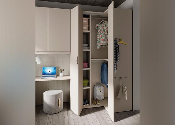 Dormitorio juvenil con cama escritorio armarios y Armario puente juvenil