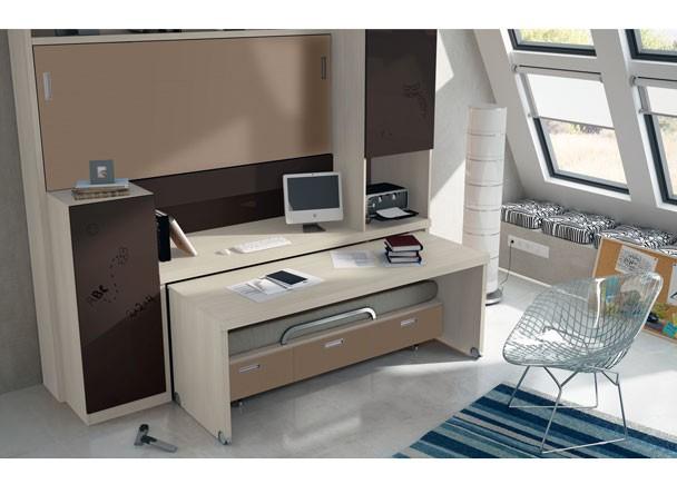 Juvenil con mueble compacto abatible autoportable elmenut for Mueble compacto juvenil