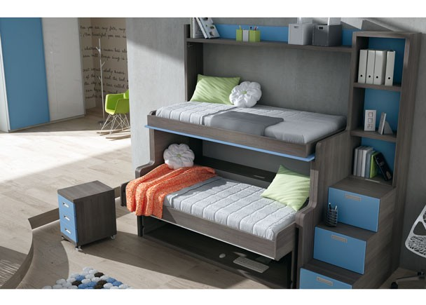 Habitaci n infantil con cama mesa litera abatible elmenut - Sofa cama convertible litera ...