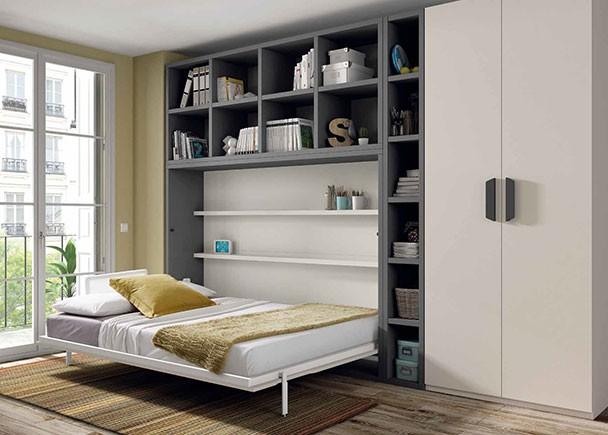 Estudio con cama abatible horizontal de 135 x 190 elmenut for Habitaciones juveniles cama 135
