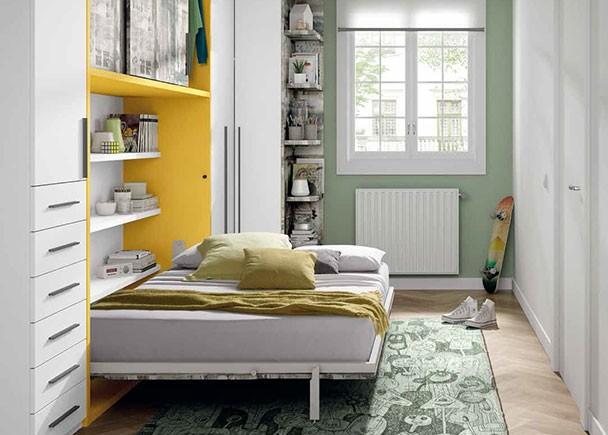 Habitaci n juvenil con cama abatible horizontal de 135 x - Habitacion juvenil cama abatible ...