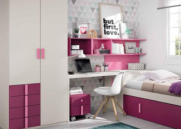 Dormitorio infantil con cama nido, armario y zona de ...