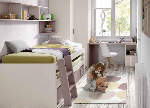 Habitaci n infantil con compacto bicama con 4 cajones for Cama compacta infantil