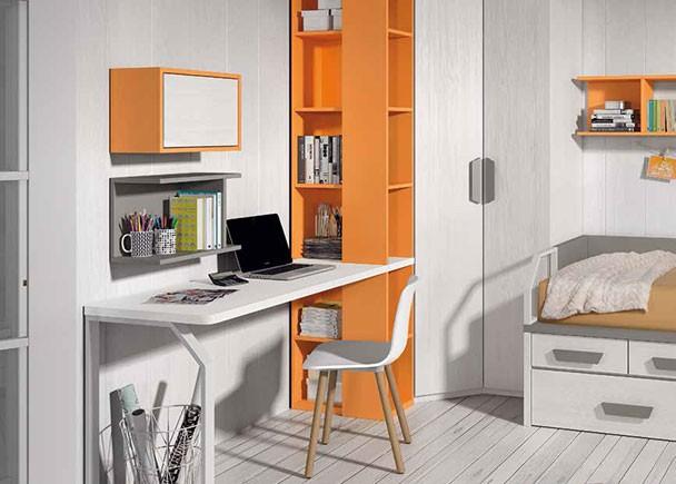 Habitaci n juvenil con compacto escritorio y armario for Escritorios compactos
