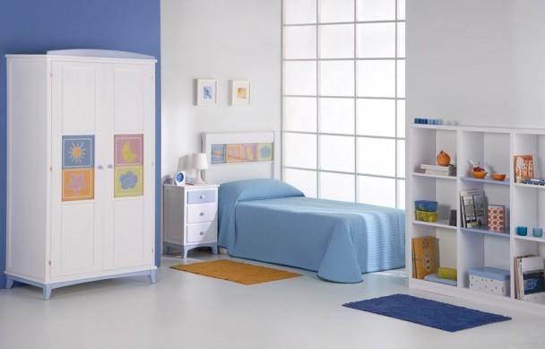 Dormitorio infantil lacado con armario y librer a elmenut - Dormitorios infantiles malaga ...