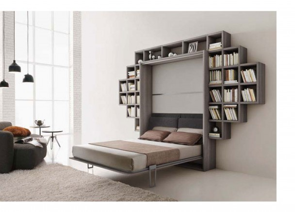 Mueble con cama abatible matrimonio para sal n elmenut for Mueble cama abatible vertical matrimonio