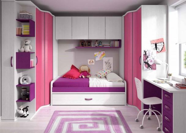 Habitaci n infantil con cama nido elmenut for Dormitorios juveniles con armario esquinero