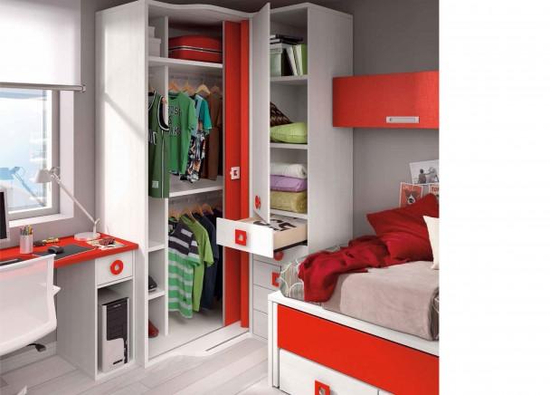 Habitaci n juvenil muy alegre con armario elmenut for Armarios habitacion juvenil