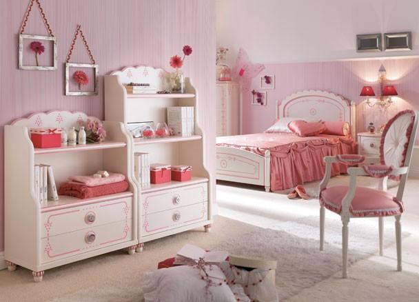 Dormitorio de princesa lacado en blanco y rosa elmenut - Muebles princesa sevilla ...