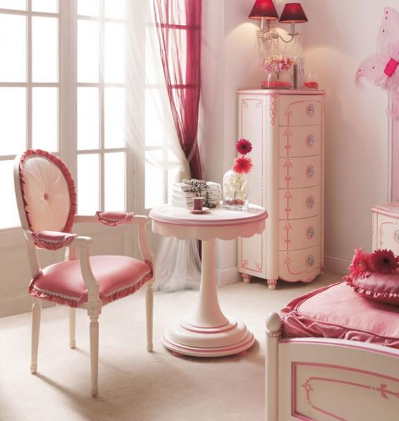 Dormitorio de princesa lacado en blanco y rosa elmenut for Muebles princesa sevilla
