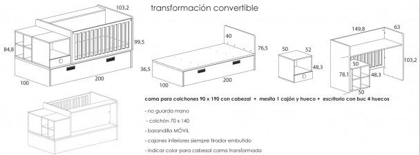 Dormitorio beb con cuna convertible mod eco 1 elmenut - Colchon cambiador bebe medidas ...